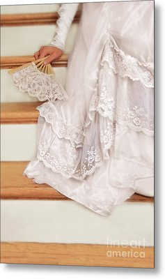 Bride Sitting On Stairs With Lace Fan Metal Print by Jill Battaglia