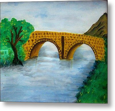Bridge-acrylic Painting Metal Print by Rejeena Niaz