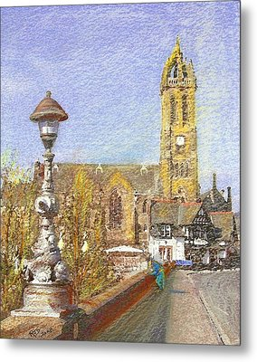 Metal Print featuring the painting Bridge Inn And Parish Church Peebles by Richard James Digance