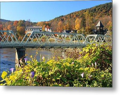 Bridge Of Flowers Morning Glory Autumn Metal Print by John Burk