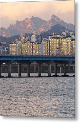 Bridge Over Han River In Seoul, South Korea Metal Print by Copyright Michael Mellinger