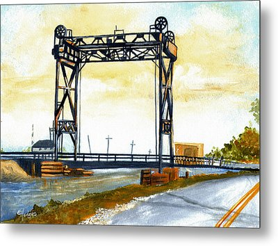 Bridge Over The Bayou Metal Print by Elaine Hodges