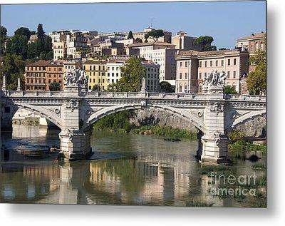 Bridge Ponte Vittorio II. River Tiber.rome Metal Print