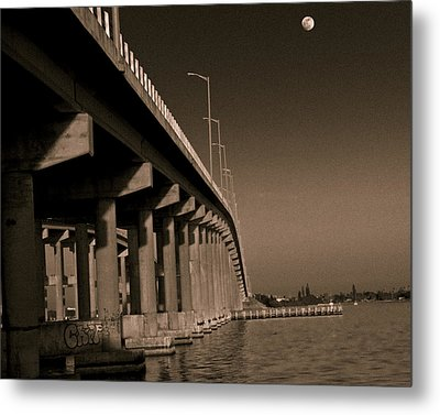Bridge To The Moon Metal Print by Roger Wedegis