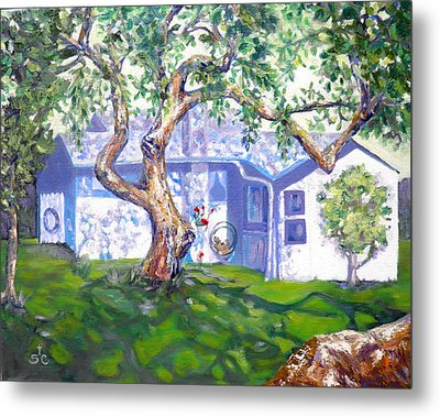 Bright Afternoon Beach House Metal Print