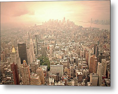 Bright Financial District In Nyc Metal Print by Daniela Duncan