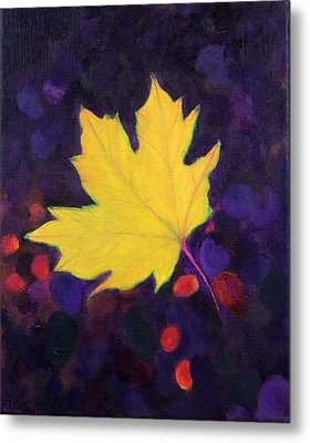 Bright Leaf Metal Print by Janet Greer Sammons