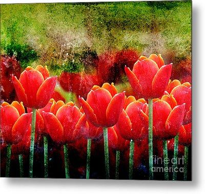Bright Red Textured Tulip Flower Metal Print by Angela Waye