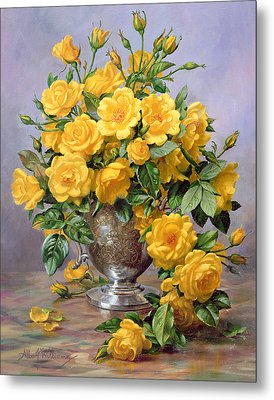Bright Smile - Roses In A Silver Vase Metal Print by Albert Williams