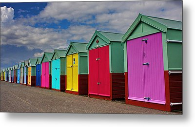 Brighton Beach Huts Metal Print by Phil Clements