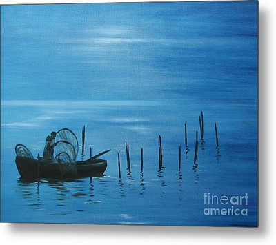 Bringing In The Nets. Metal Print