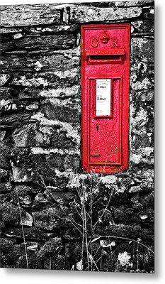 British Red Post Box Metal Print by Meirion Matthias