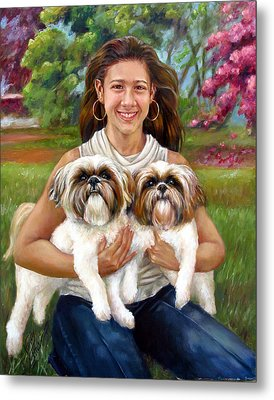 Metal Print featuring the painting Brittany And Her Shih Tzusu by Nancy Tilles