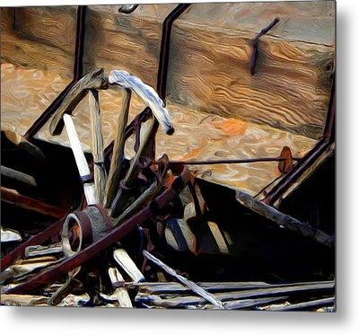 Broken Wagon Wheel Metal Print