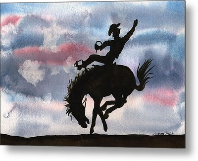 Bronco Busting Metal Print by Sharon Mick