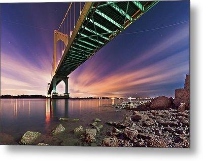 Bronx Whitestone Bridge At Dusk Metal Print by Mihai Andritoiu, 2010