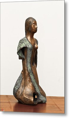 Bronze Hollow Lady In Gown Right View 2 Sculpture In Bronze And Copper Green Long Hair  Metal Print by Rachel Hershkovitz
