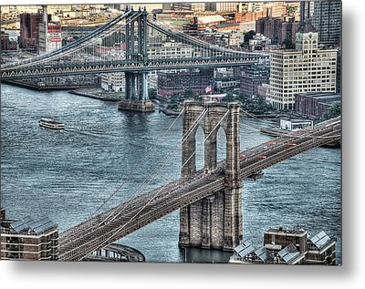 Brooklyn And Manhattan Bridge Metal Print by Tony Shi Photography