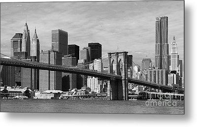 Brooklyn Bridge And Skyline Metal Print by Holger Ostwald