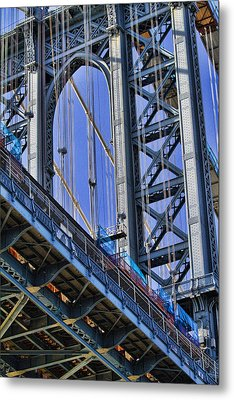 Manhattan Bridge Close-up Metal Print by David Smith