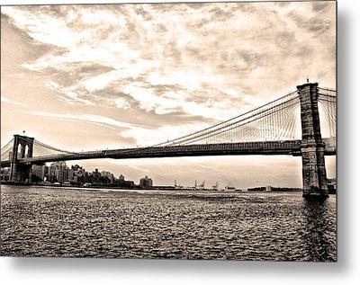 Brooklyn Bridge In Sepia Metal Print by Bill Cannon