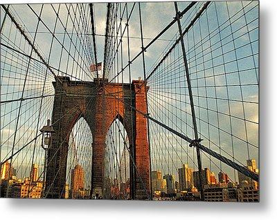 Brooklyn Bridge On A Sunset Metal Print by Alex AG