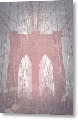 Brooklyn Bridge Red Metal Print by Naxart Studio