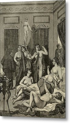 Brothel In Ancient Greece. 19th Century Metal Print by Everett