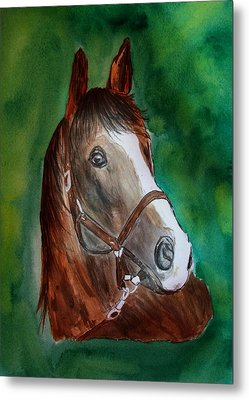 Metal Print featuring the painting Brown Beauty by Alethea McKee