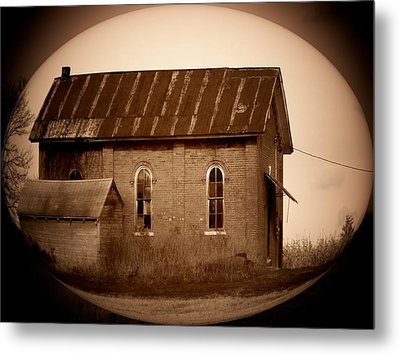 Brown Brick School House Metal Print by Michael L Kimble