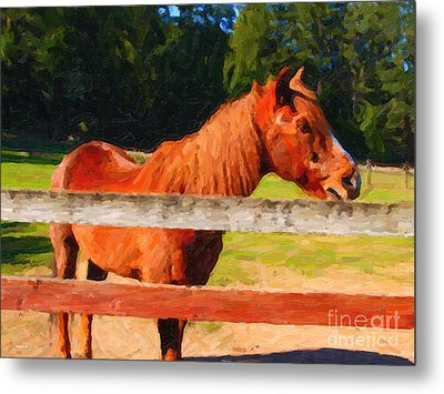 Brown Horse Behind Fence . Painterly Metal Print by Wingsdomain Art and Photography