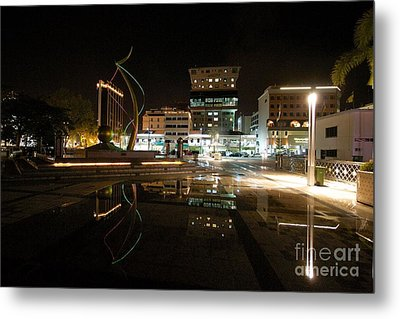 Metal Print featuring the pyrography Brunei At Night  by Gary Bridger