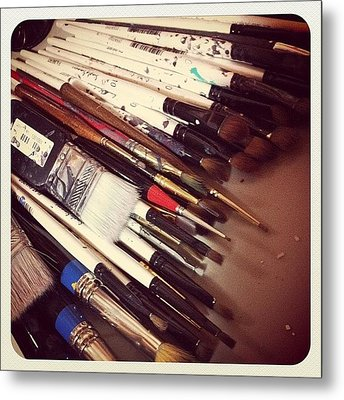 Brushes Lots Of Brushes Metal Print by  Abril Andrade Griffith
