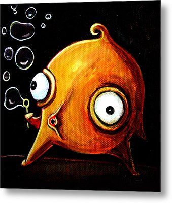 Bubbles Glob Metal Print by Leanne Wilkes