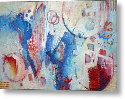 Bubbling Up - Abstract In Blues Metal Print