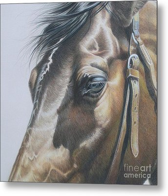 Buckles And Belts In Colored Pencil Metal Print by Carrie L Lewis