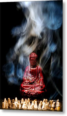Buddha In Smoke Metal Print by Olivier Le Queinec