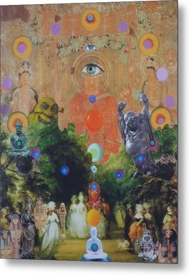 Metal Print featuring the mixed media Buddha's Garden Party by Douglas Fromm
