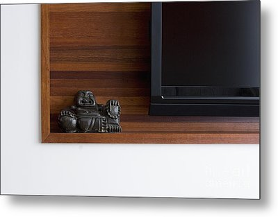 Buddhist Sculpture On Shelf Metal Print by Shannon Fagan