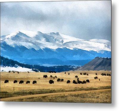 Buffalo Herd Painterly Metal Print by Ernie Echols