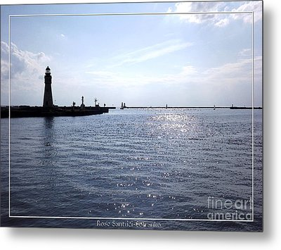 Buffalo Main Lighthouse And Buffalo Harbor Metal Print by Rose Santuci-Sofranko