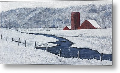 Buffalo River Valley In Snow Metal Print by Garry McMichael