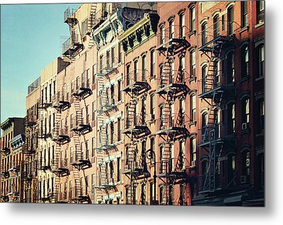 Building Fire Escape Stairs And Windows Metal Print by Niccirf
