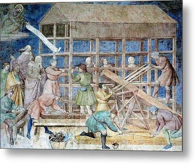 Building Noah's Ark, 14th Century Fresco Metal Print by Sheila Terry