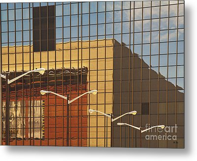 Building Reflected In Glass Building Windows Metal Print