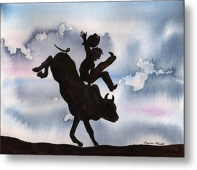 Metal Print featuring the painting Bull Riding by Sharon Mick