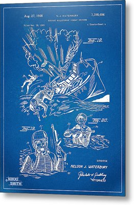 Bulletproof Patent Artwork 1968 Figures 18 To 20 Metal Print by Nikki Marie Smith