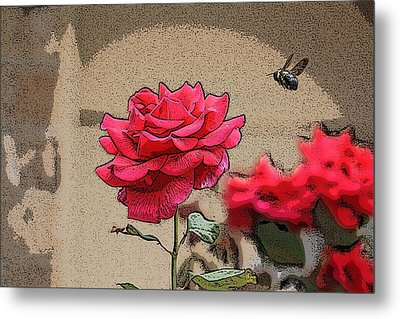 Bumble Bee And Rose Metal Print