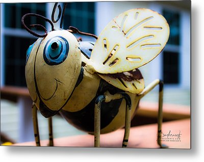 Bumble Bee Of Happiness Metal Sculpture Metal Print by Robin Lewis