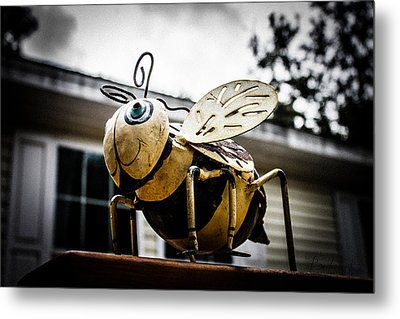 Bumble Bee Of Happiness Metal Statue Metal Print by Robin Lewis
